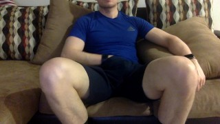 my thick white dick wanked while watching tv