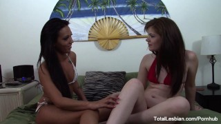 Tanned babe gets dirty with sexy brunette