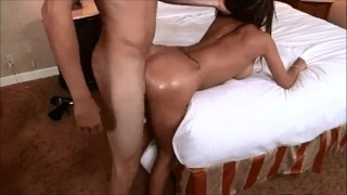 Sexy big ass latino gettin fucked doggystyle screams hotel bed