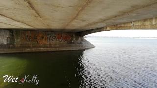 Slutty girl sucking her ex in public under the bridge in the daytime . 4 K