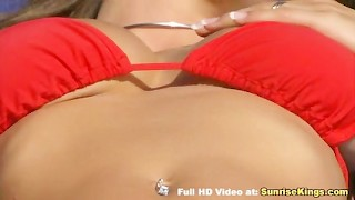 Big tits babe pool sex and cumshot