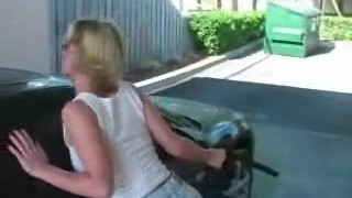 Amateur Blonde Blowjob At the Carwash, Swallow